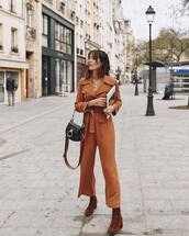 jumpsuit,lace up boots,suede boots,black bag,crossbody bag