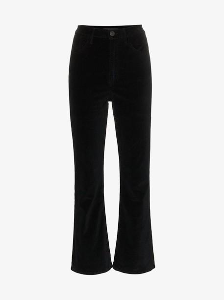 3x1 High Waisted Flared Cropped Velvet Jeans in black
