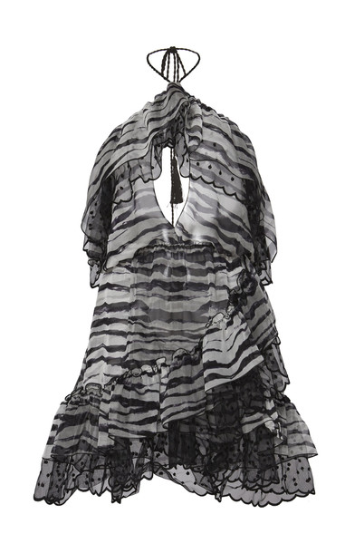 Dundas Ruffled Tiger Print Halter Mini Dress in black / white