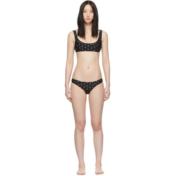 Solid and Striped Black Floral Embroidery The Elle Bikini