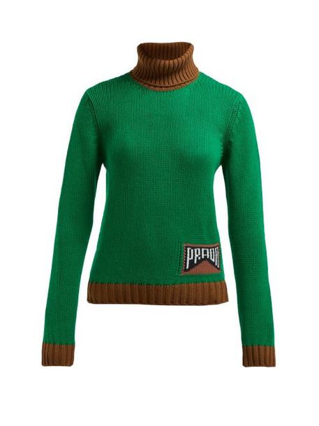 Prada - Roll Neck Cashmere Blend Sweater - Womens - Green Multi