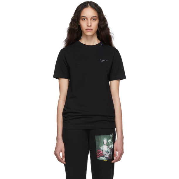 Off-White Black and Silver Unfinished Slim T-Shirt
