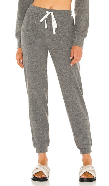 Bobi Cozy Heathered Knit Pant in Grey in charcoal