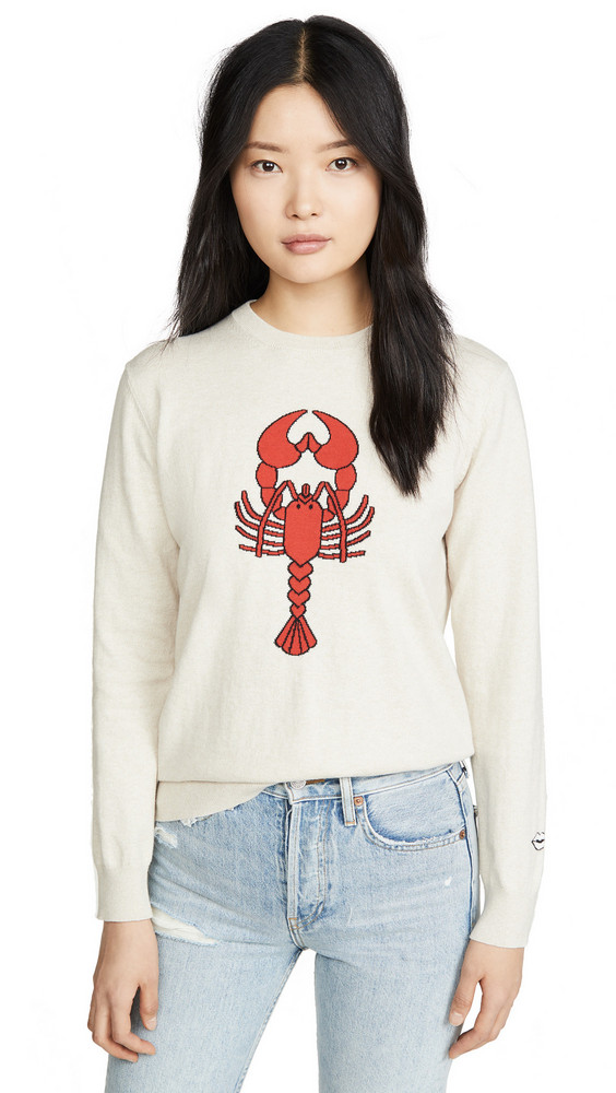 Markus Lupfer Mia Intarsia Lobster Sweater in sand / red