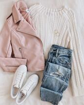 jeans,jewels,shoes,jacket,sweater