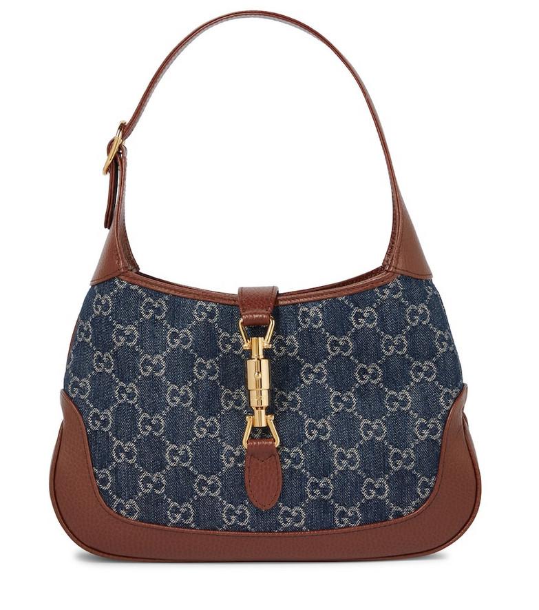 Gucci Jackie 1961 Small GG jacquard denim shoulder bag in blue
