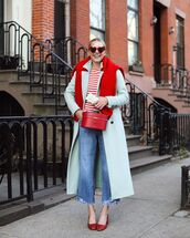 shoes,pumps,cropped jeans,long coat,double breasted,blue coat,boxed bag,striped top,sweater,sunglasses