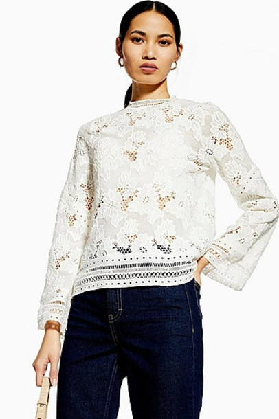 Topshop Lace Floral Long Sleeve Top - Ivory