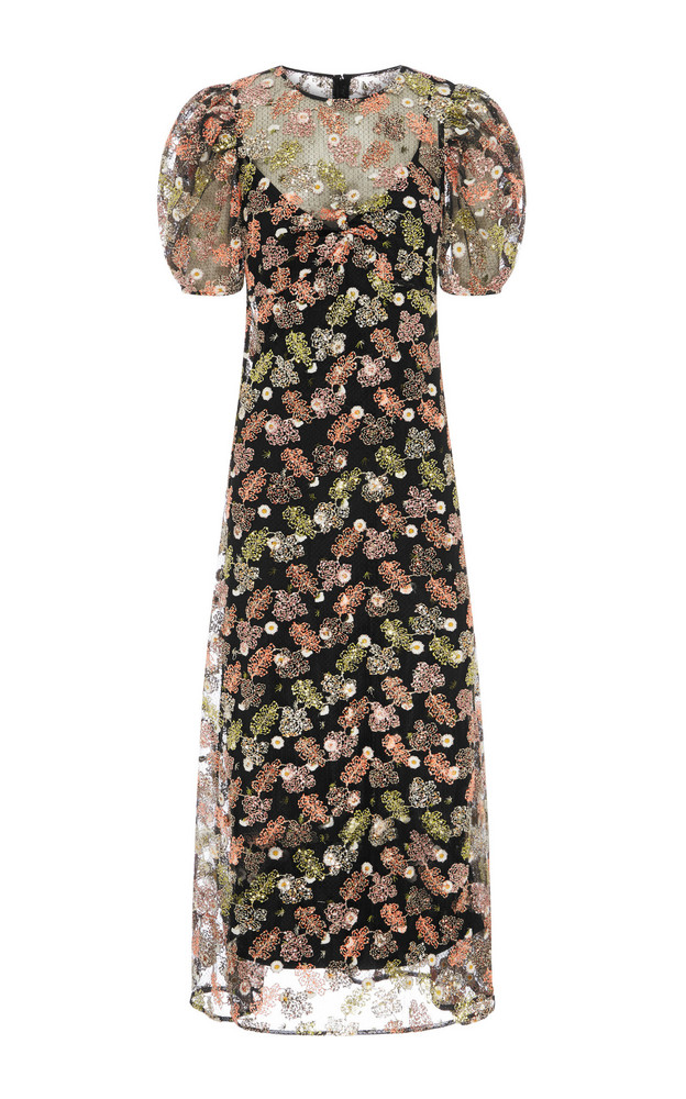 Alice McCall Celestial Creature Floral-Embroidered Tulle Midi Dress Si in black