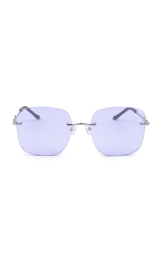 Karen Wazen Madison Oversized Square-Frame Metal Sunglasses in purple