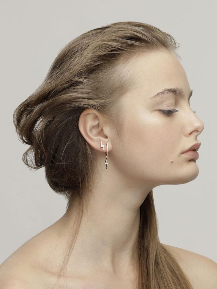 FEDERICA TOSI Mini Lobo Flash Earrings W/ Crystals in silver