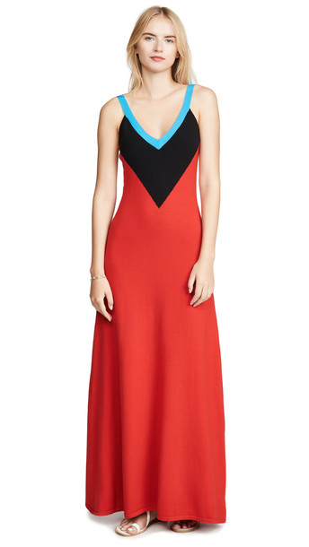 Victor Glemaud Deep V Neck Gown in black / red