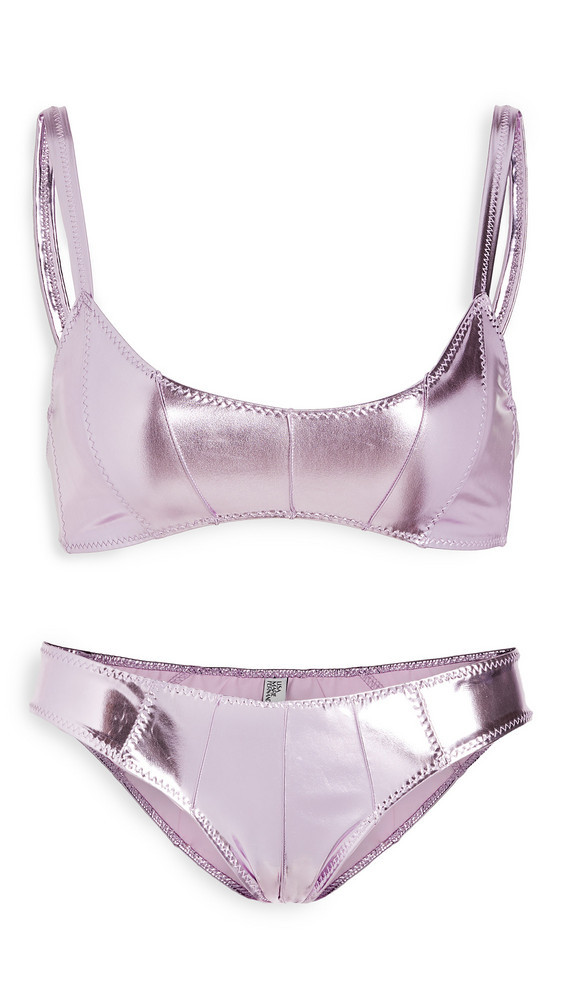Lisa Marie Fernandez Genevieve Pintuck BIkini Set in lavender