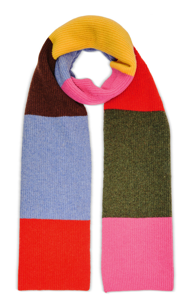Ganni Ribbed Color-Block Wool-Blend Scarf in multi