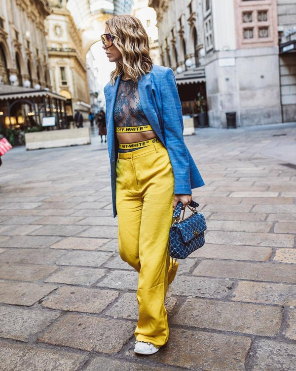 jacket blazer double breasted high waisted pants white sneakers blue bag yellow pants crop tops