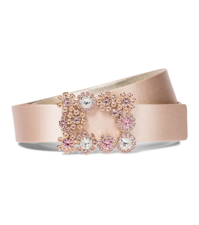 Roger Vivier Flower Strass silk satin belt in pink