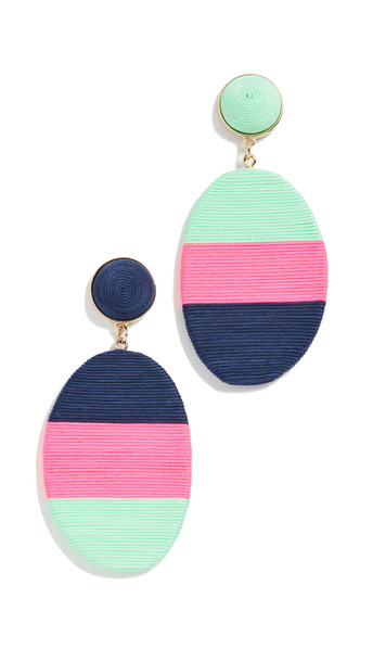 Mary Jane Marfa Medium Earrings in blue / pink / denim