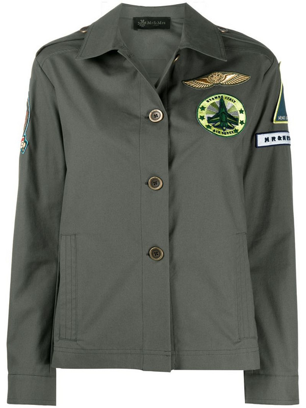 Mr & Mrs Italy embroidered detail boxy fit jacket in green