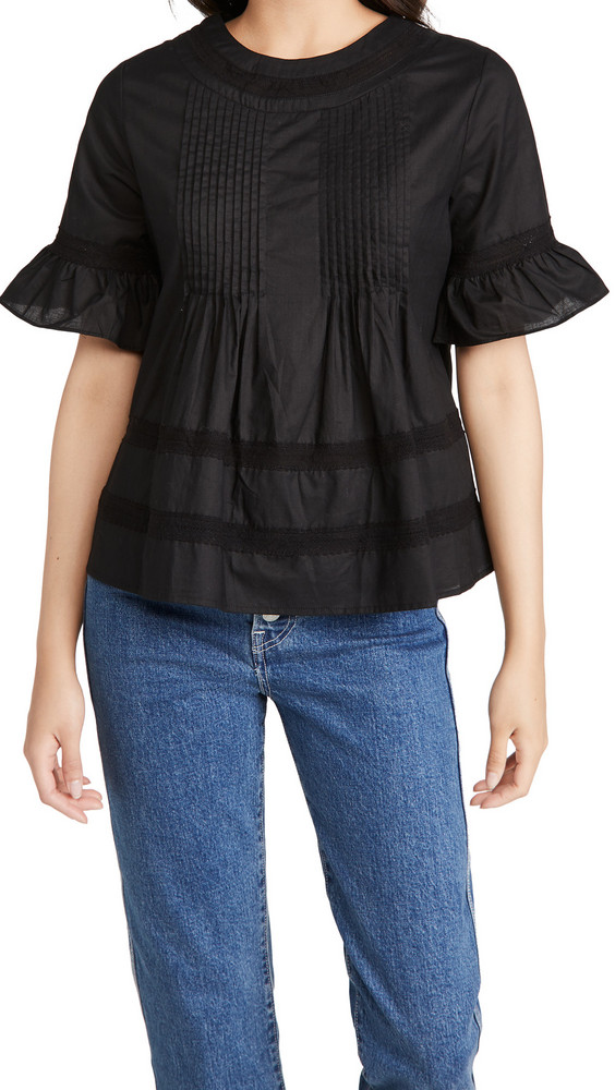 ENGLISH FACTORY Lace Boho Blouse in black