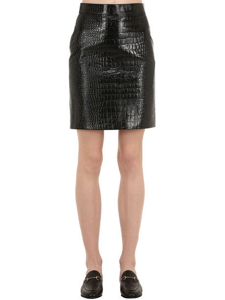 GUCCI Croc Embossed Leather Mini Skirt in black