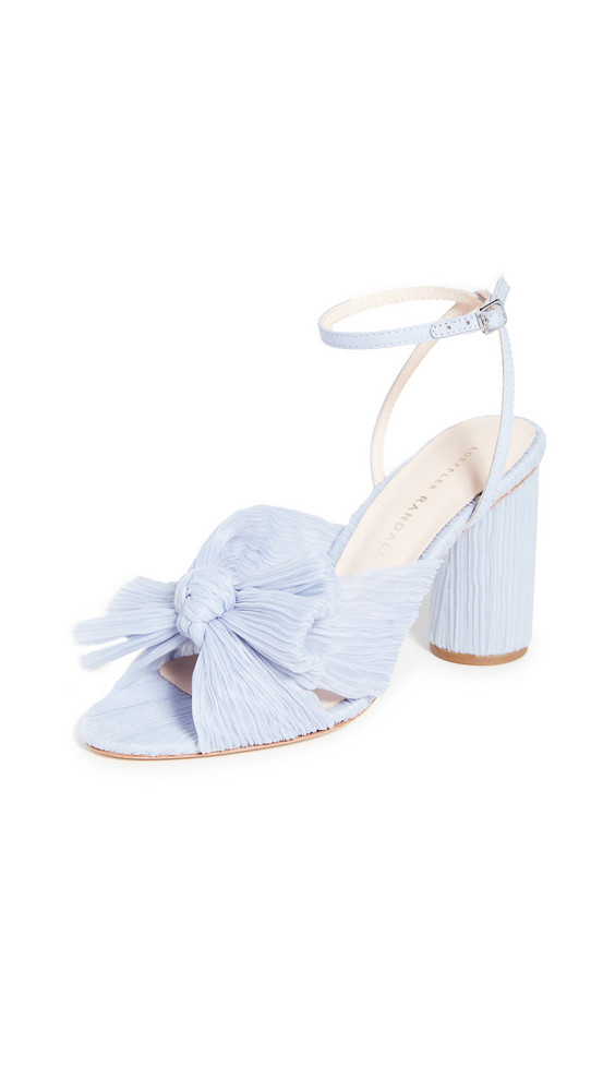 Loeffler Randall Pleated Knot Heeled Sandal with Ankle Strap in blue