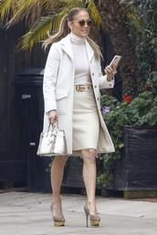 coat,monochrome,jennifer lopez,celebrity,work outfits,dress,midi dress