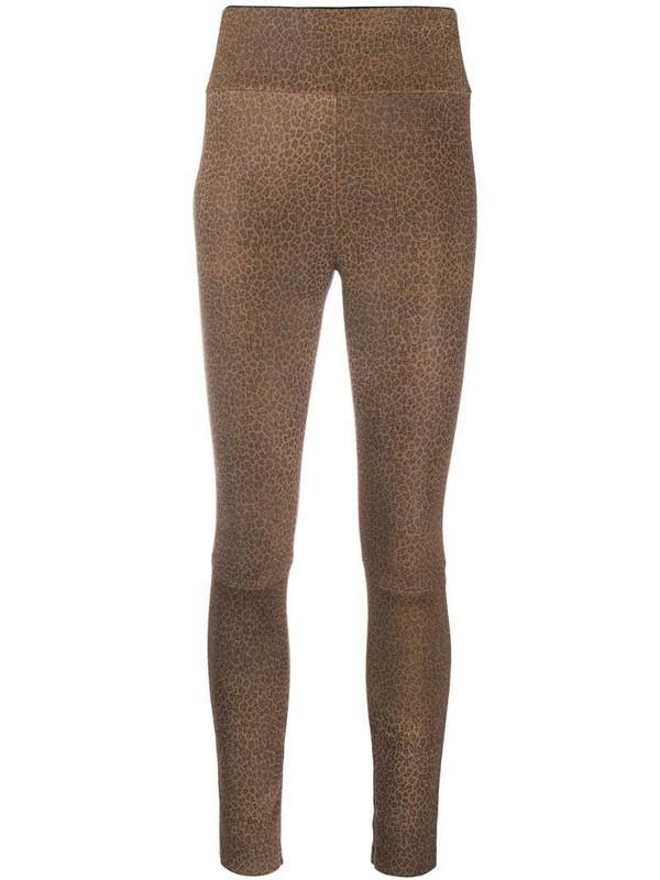 Drome leopard print leggings in brown