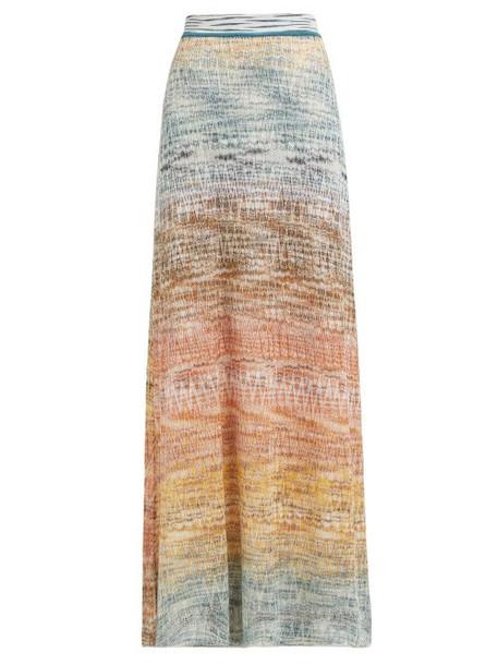 Missoni - Dégradé Zigzag Crochet Knit Maxi Skirt - Womens - Gold Multi