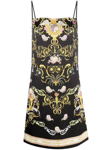Versace Jeans Couture baroque pattern mini dress in black