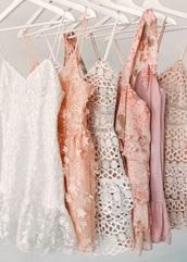 dress,light pink floral dress,tan dress with white,lulus.com,white dress,spaghetti straps dress