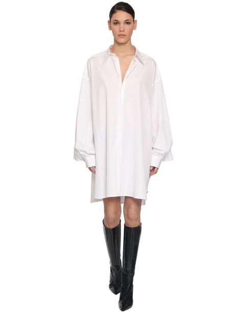 MAISON MARGIELA Oversize Cotton Poplin Shirt Dress in white
