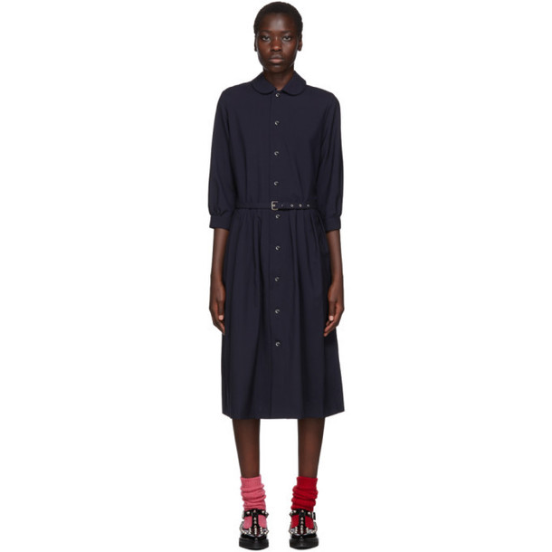 Comme des Garcons Girl Navy Round Collar Belted Dress