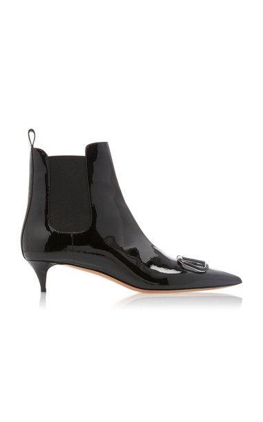 Valentino Patent Leather Beatle Boots in black