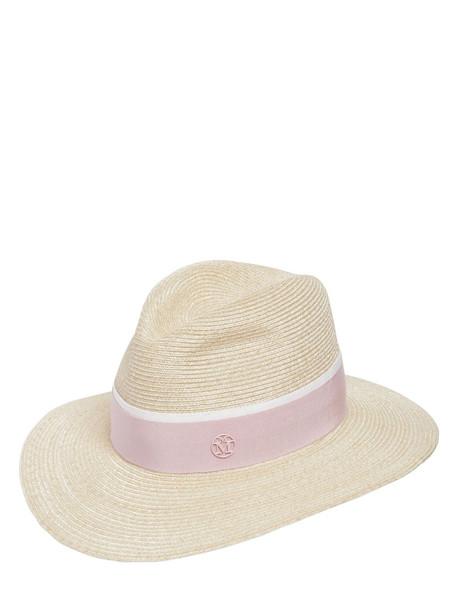 MAISON MICHEL Henrieta Sraw Hat in natural / pink