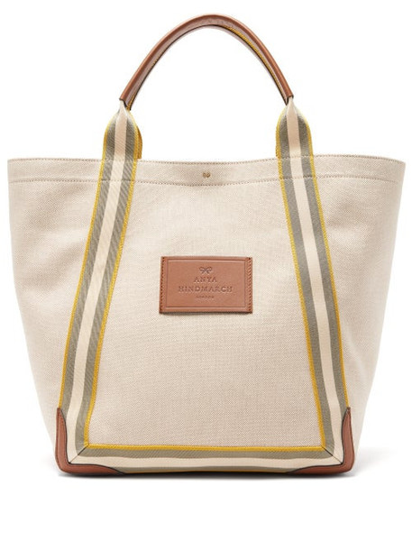 Anya Hindmarch - Pont Leather-trimmed Canvas Tote Bag - Womens - Beige Multi