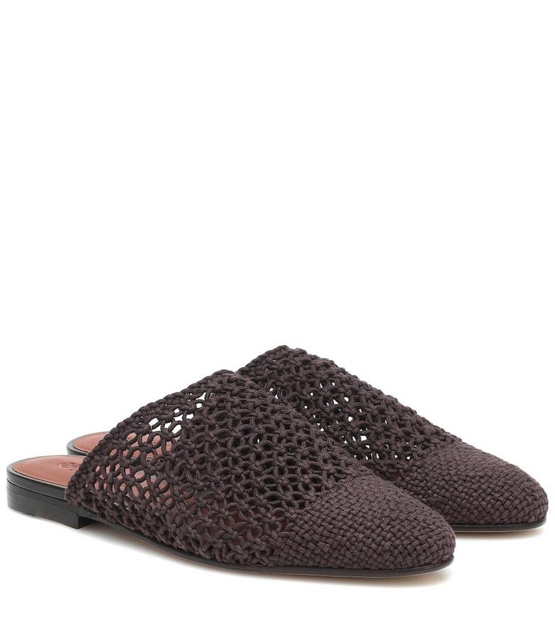 Loro Piana Balgha crochet slippers in brown