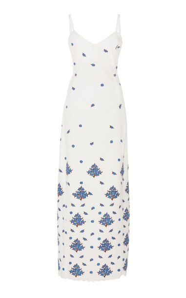 Rebecca de Ravenel Embroidered Broderie Anglaise Cotton Midi Dress Siz in white