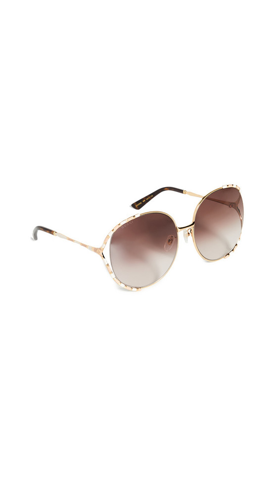 Gucci Feminine Fork Round Sunglasses in brown / yellow