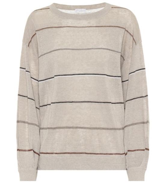Brunello Cucinelli Striped linen-blend sweater in beige / beige