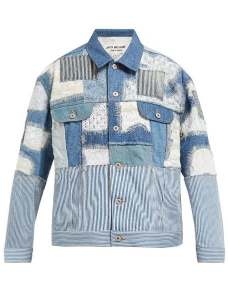 Junya Watanabe - Patchwork Denim And Lace Jacket - Womens - Blue Multi