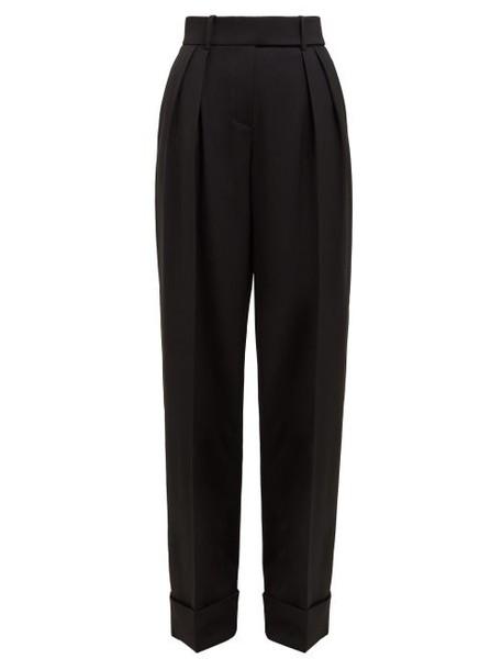 Alexandre Vauthier - Cuffed Wide Leg Wool Blend Trousers - Womens - Black