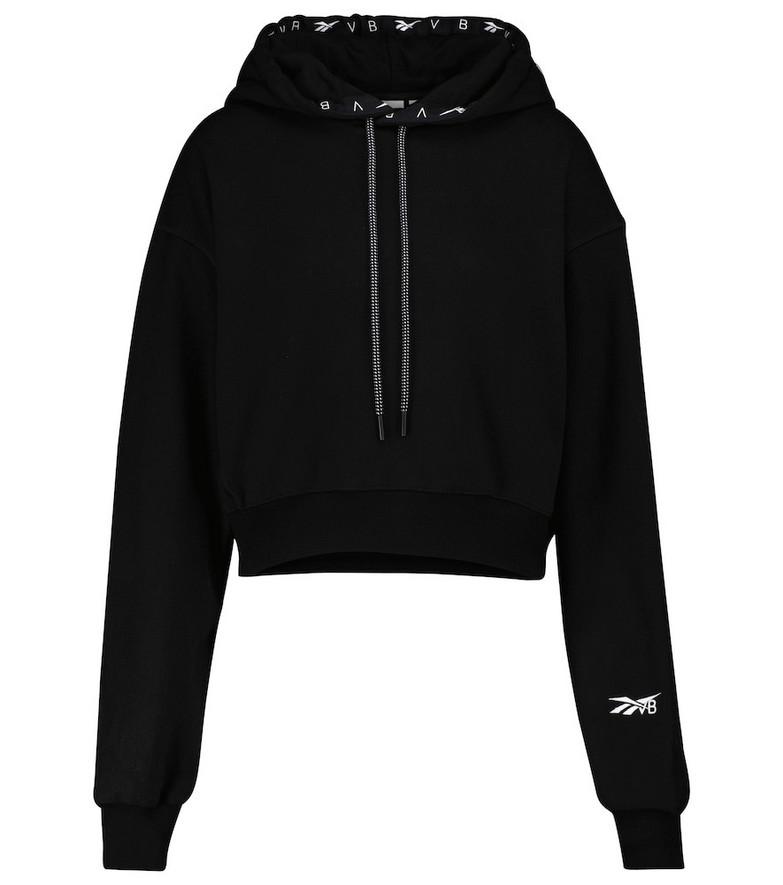 Reebok x Victoria Beckham Cropped cotton hoodie in black