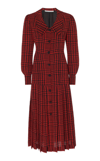 Alessandra Rich Pied De Poule Checkered Silk Dress Size: 36 in red