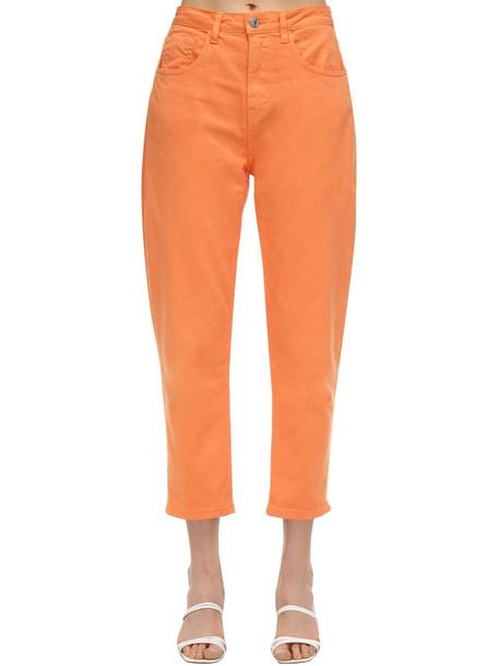 IRENE IS GOOD High Waist Cotton Straight Jeans in orange