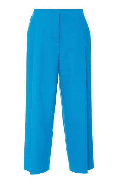 Escada Teli Wide Leg Cotton-Blend Cropped Pants Size: 34 in blue