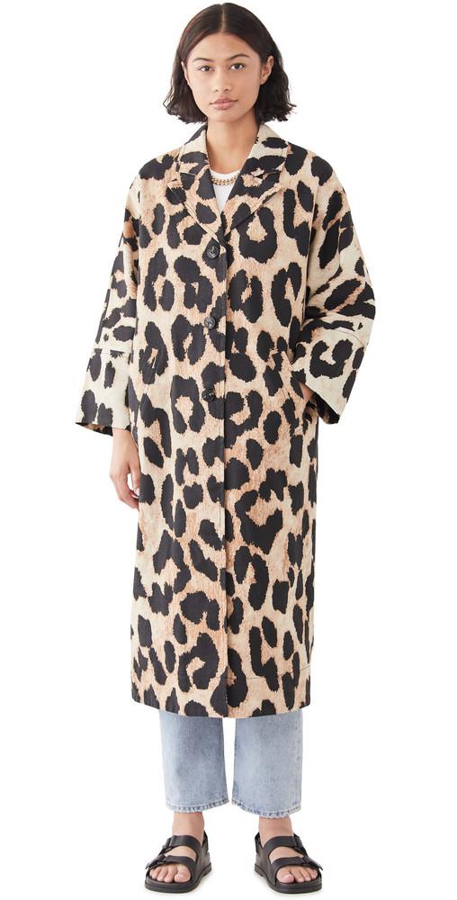 GANNI Linen Canvas Coat in leopard