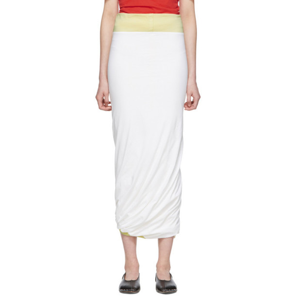 Marni White & Yellow Tube Skirt