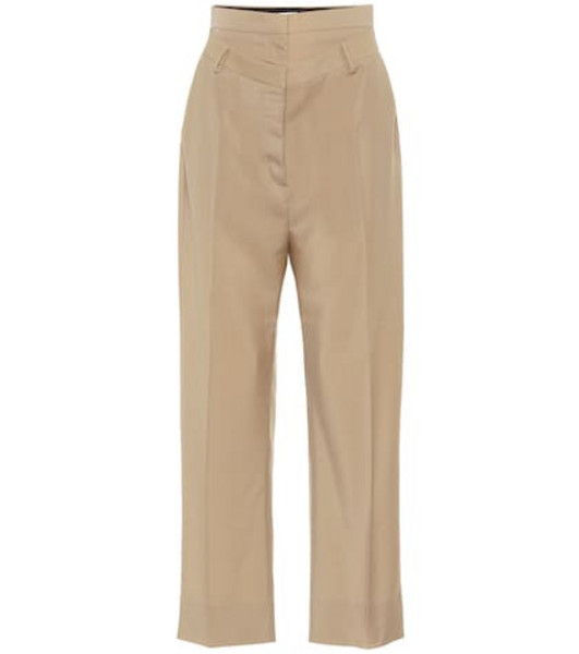 Burberry Double-waist mohair and wool pants in beige