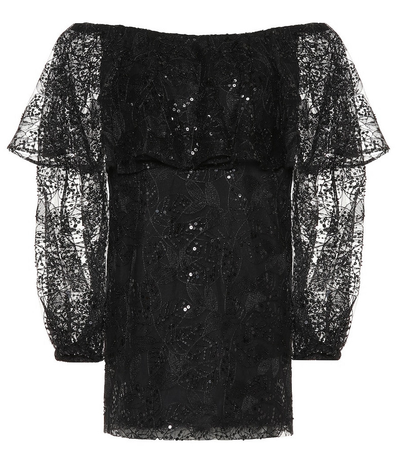 ROTATE BIRGER CHRISTENSEN Exclusive to Mytheresa – lace off-the-shoulder minidress in black