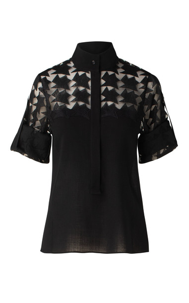 Akris Collared Tulle And Wool Crepe Top in black